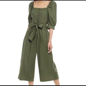 Sylvie Puff Sleeve Linen Blend Jumpsuit